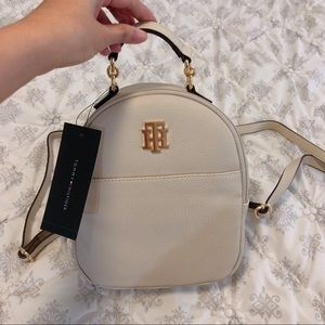Tommy hilfiger cream leather mini backpack
